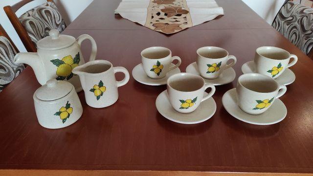 Zestaw do kawy / herbaty, gliniany, wypalany - OBNIŻKA CENY