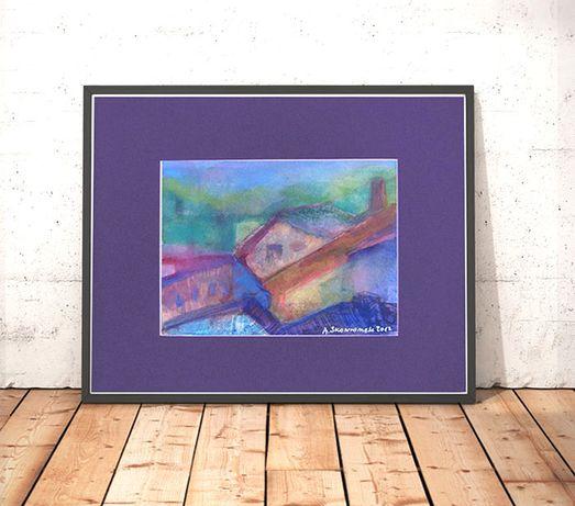 akwarela malowana ręcznie, deszcz obraz, mgła obraz, domy akwarela a4