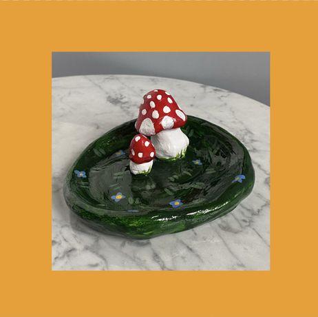 Podstawek talerzyk las grzyby muchomory vintage handmade boho