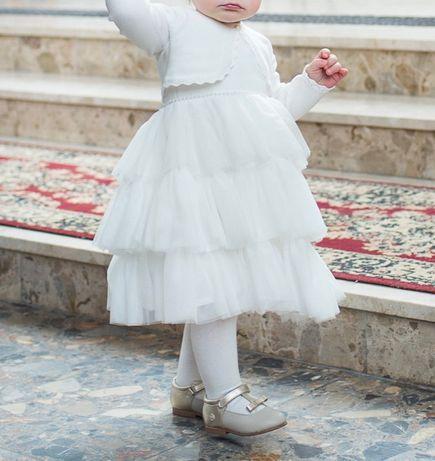 Piękny strój sukienka na Chrzest dla dziewczynki z Abrakadabra roz. 80