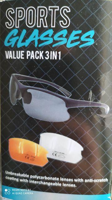 Okulary sportowe 3w1 UV400 Wymienne szkła Etui Sznurek