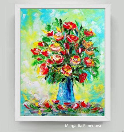 Картина Маслом Цветы Розы на холсте
