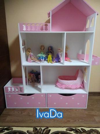 АКЦИЯ!!!Кукольный домик бело-зефирный с выдвижными ящиками