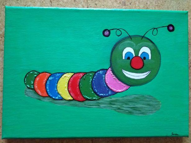 Tela com pintura em acrílico Lagarto