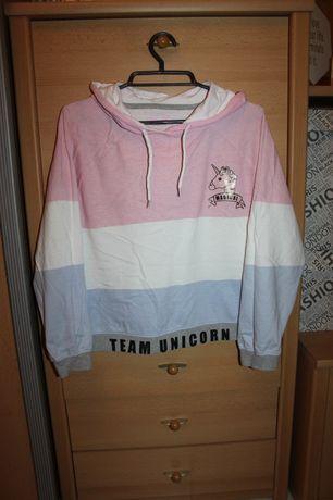 Luźna krótsza pastelowa bluza z kapturem z unicornem jednorożec