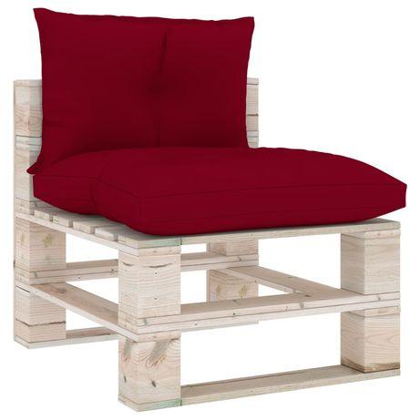 vidaXL Almofadões para sofá de paletes 2 pcs tecido vermelho tinto 314613