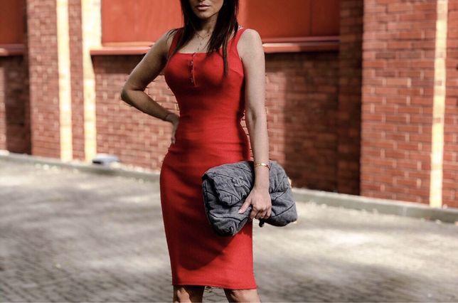Sukienka Lila Lou XS-M tuba ołówkowa bodycone czerwona lato okazja