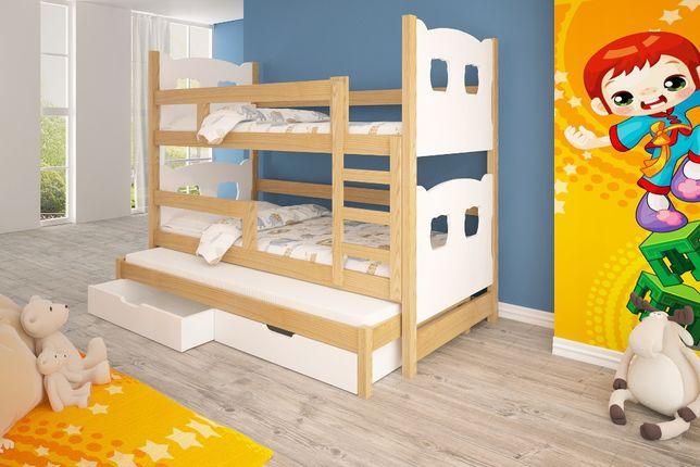 Trzyosobowe łóżko dziecięce piętrowe OLEK! + materace