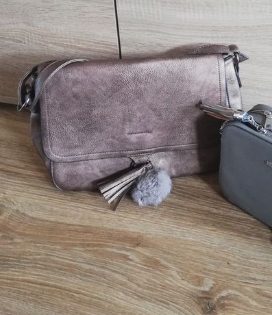 Metaliczna modna torebka pojemna pasek