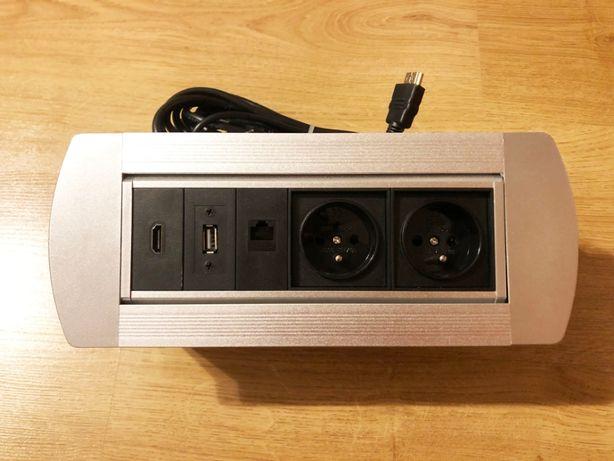Listwa Media Power Port Latis aluminiowa 2x230V, 1xHDMI, 1xUSB, 1xRJ45