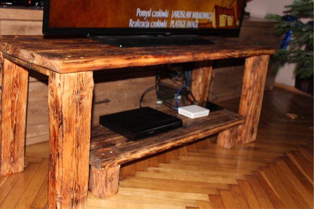 Rustykalny stolik regal pod telewizor drewniany z bala stare deski