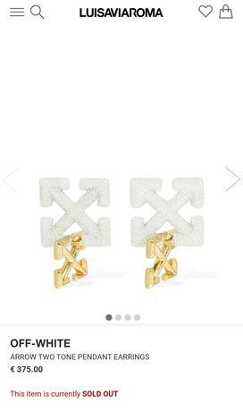 Off - White double Arrow pendant earrings