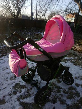 Коляска 2 в 1 зимняя летняя розовая для девочки младенца новорожденных