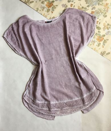 Street One koszulka bluzka pudrowy róż koronka XL/2XL plus size 42 44