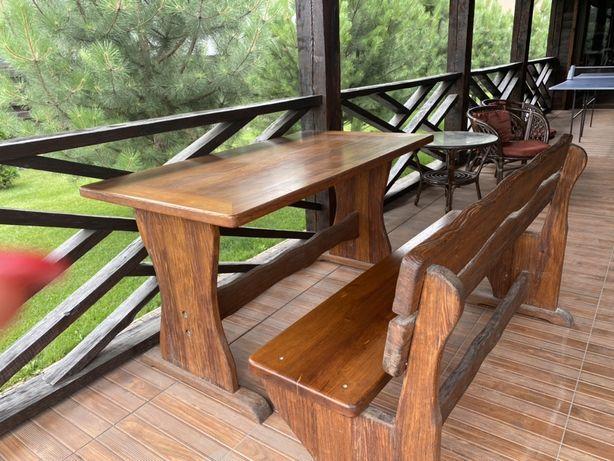 Стол со скамейками дерево