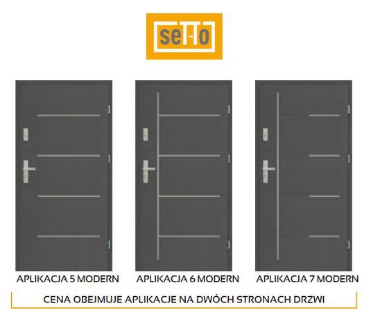 """Drzwi zewnętrzne stalowe Setto Modern Pełne+aplikacje 56mm """"90"""" NOWE"""