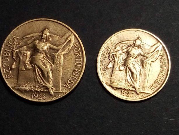 2 moedas $50 e 1$00 1926 e 1924 bronze raras e belas ver fotos