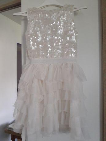 Sukienka biała H&M 140  9-10 lat