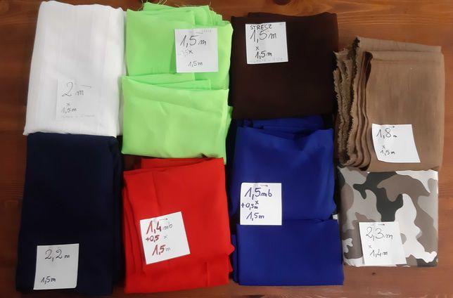 Materiały, tkaniny, zestaw 11 kuponów różnych materiałów, 5kg