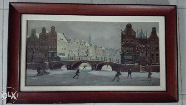 Pintura / Quadro Tela Antiga Amesterdão J L Dispo (Pintor Holandês)