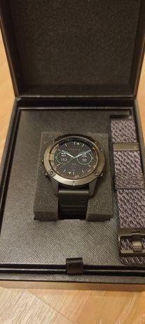 Годинник fenix 6 Sapphire чорний DLC з чорним плетеним ремінцем