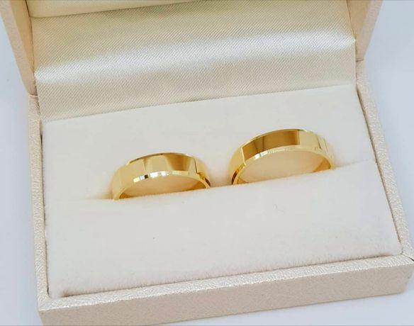 Eleganckie Złote Obrączki Ślubne Fazowane