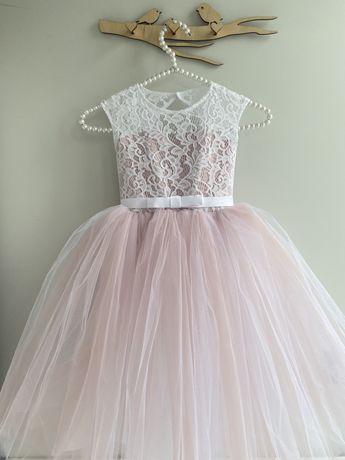 Нарядное пышное фатиновое платье пудровое белое 98