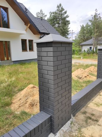 Ogrodzenie betonowe imitacja klinkieru ala klinkier słupek ogrodzeniow