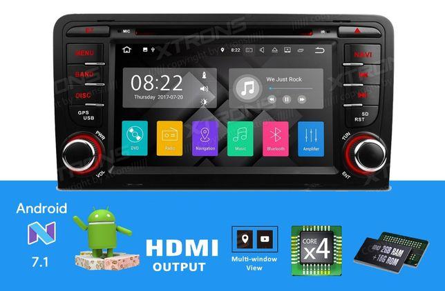 "Rádio Audi A3 Android 7.1 Quad-Core Ecrã 7"" HD 2GB RAM Wifi GPS BT"