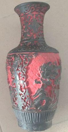 Wazon gliniany róże PRL ciężki czerwony czarny 25cm