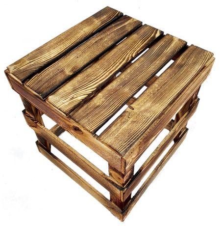 Siedzisko, taboret, stołek, hoker, skrzynka drewniana opalana