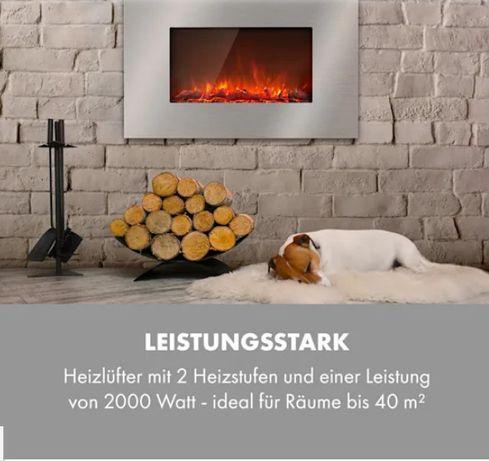 Электрокамин настенный Lausanne Luxe 2000W 2 ступени нагрева 90 см н