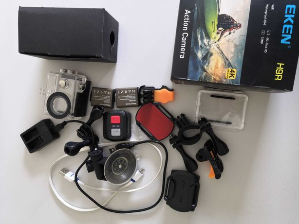 Osprzęt do kamery EKEN H9 H9R pilot baterie ładowarka obudowa przyssaw