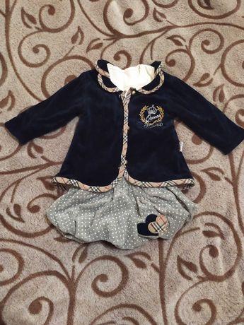 Стильний костюмчик на дівчинку піджак+спідничка+кофточка 74см