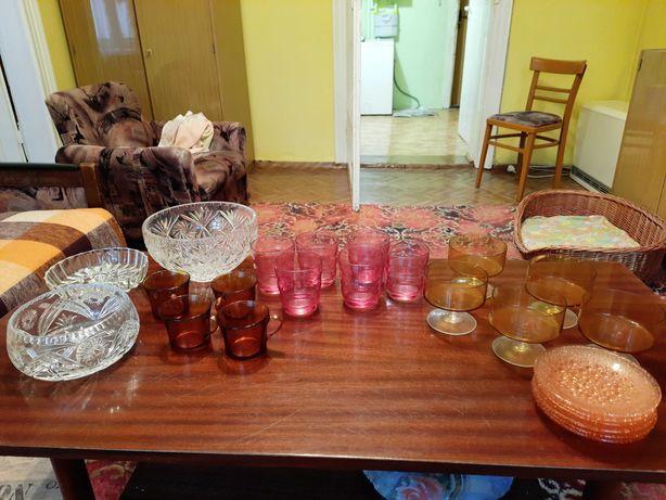 Naczynia PRL - filiżanki, szklanki, literatki, kryształy