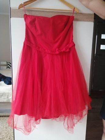 Czerwona tiulowa Sukienka roz. 42-44 gorsetowa z kokarda