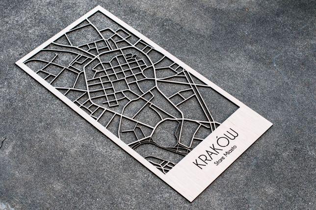 Mapa Krakowa wycinana laserowo Śródmieście stare miasto Kraków.