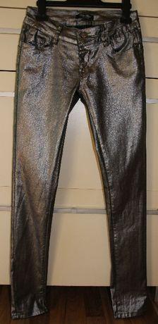 Spodnie damskie BLUE RAGS, 36, rurki, stalowe błyszczące