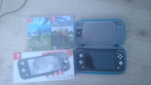Nintendo switch lite+zelda BOTW+Minecraft+etui