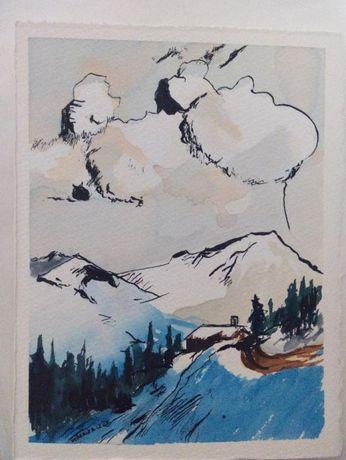 Pintura paisagem aguarela tinta-da-china 14,2 x 18,9 cm