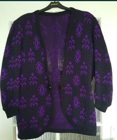 KARDIGAN, sweter czarno - fioletowy,  DUŻY rozmiar, vintage