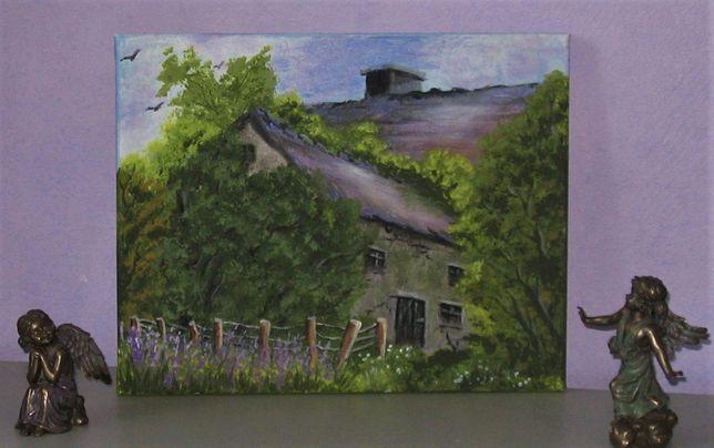 Obraz pejzaż na płótnie stary dom zakątek zmierzch