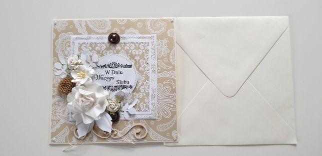 kartka z okazji ślubu - ręcznie robiona
