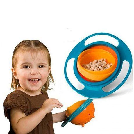 Тарелка/чашка детская (для детей) пластик Непроливайка для кормления