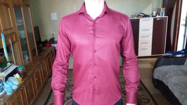 Мужская рубашка бордового цвета (Vedonni Slim Fit)
