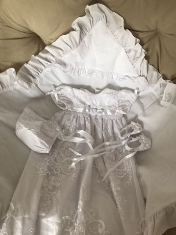 Крестильный набор платье мимино mimino baby 0-3 мес