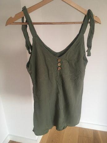 Bawełniana koszulka bez ramiączek zielona khaki XS