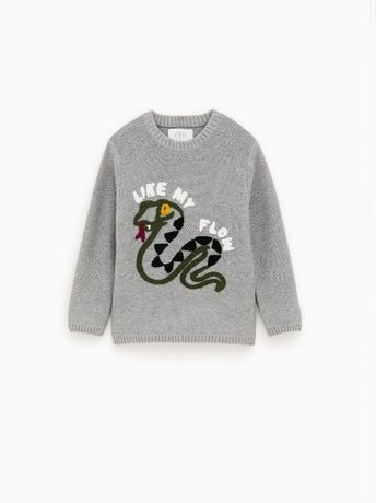 Sweterek z wężem ZARA bawełna 6 116 jak NOWY