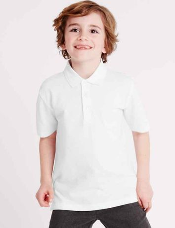 Школьная рубашка поло с коротким рукавом George белая на мальчика 6-13