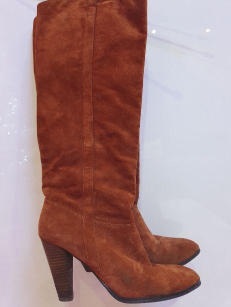 Kozaki karmelowe buty brązowe skóra naturalna skórzane zamsz 40 hit